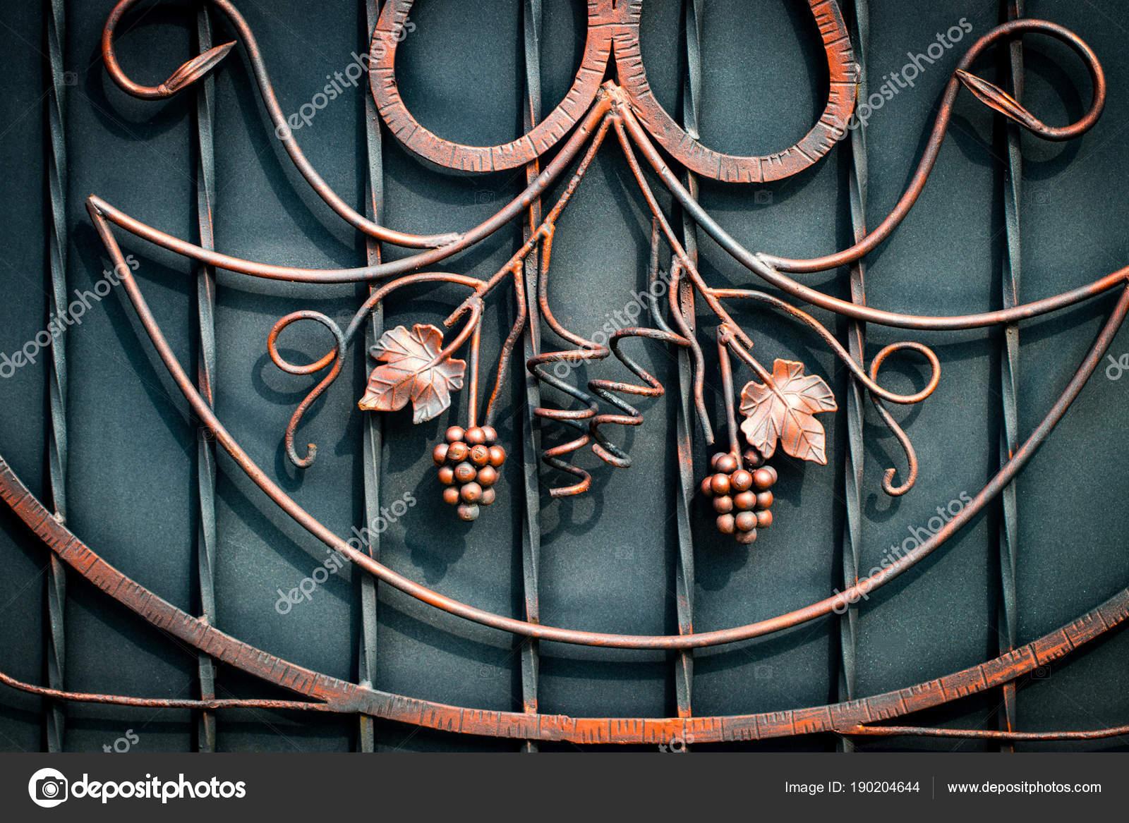 Detalles, estructura y adornos de puerta de hierro forjado. Flores ...