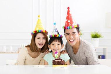happy Family Celebrating daughter's  Birthday