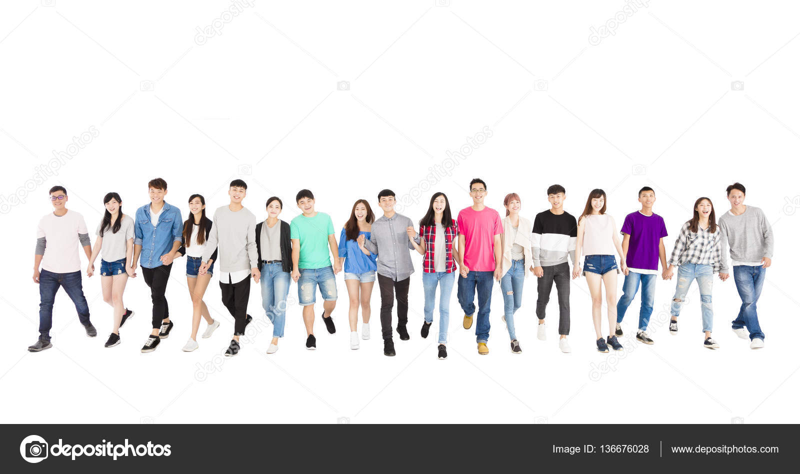 happy young group of people walking forward together ...
