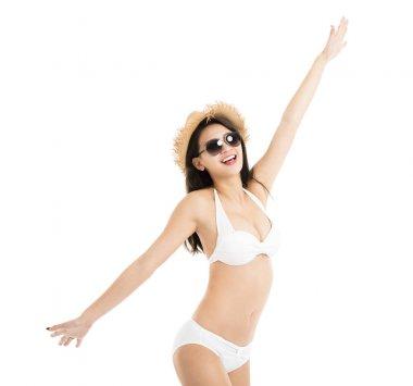 beautiful young woman in bikini isolated on white