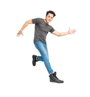 Happy young asian man dancing and jumping isolated on white stock vector