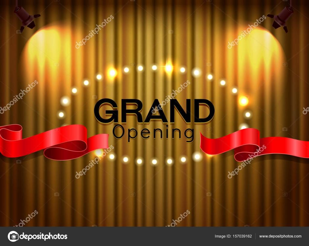 Feierliche Eröffnung schneiden rote Schleife am Vorhang mit spot ...