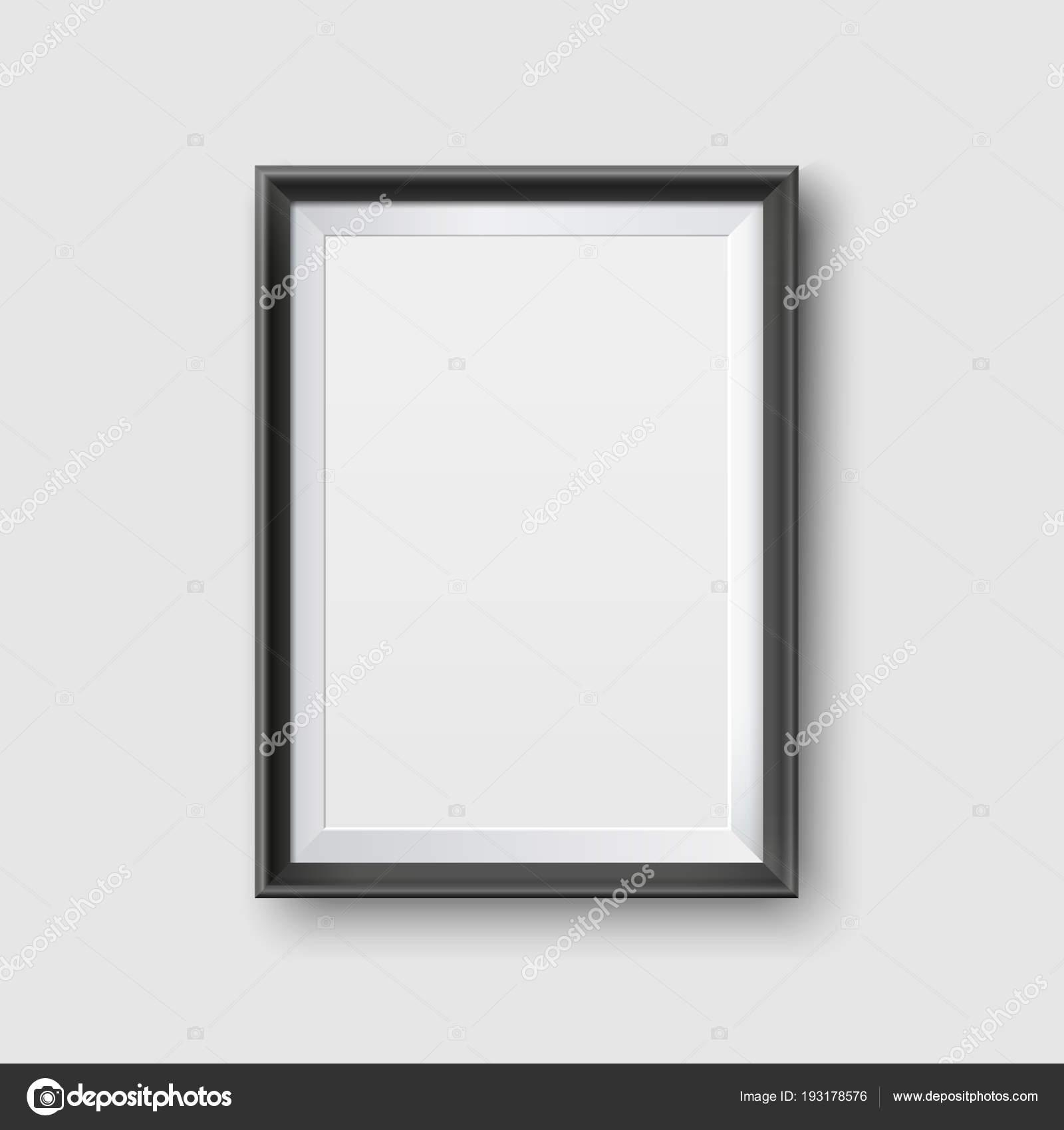 Maqueta de marco realista cuadro negro vacío. Realista vacío negro ...