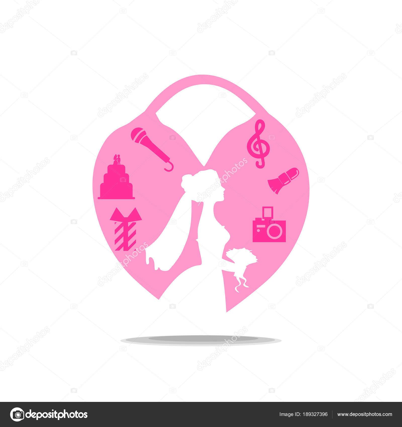 Logotipo Boda Con Novia Castillo Chica Del Vestido Está Planeando ...