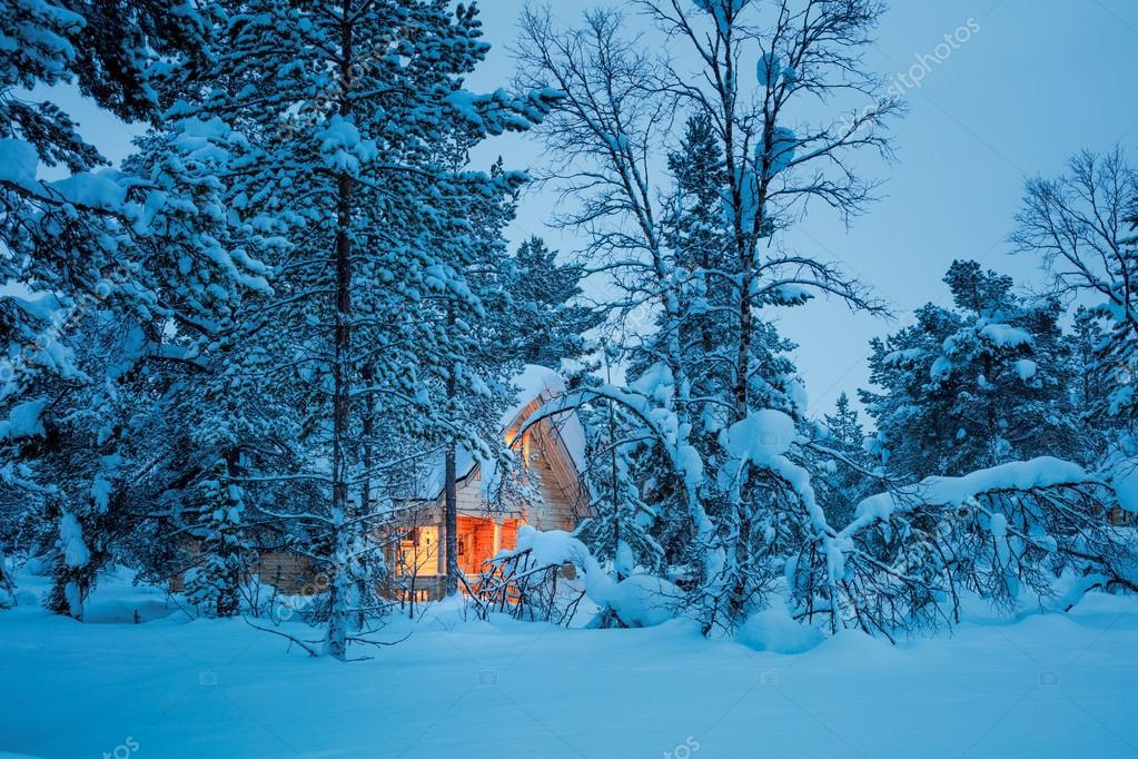 Kış Peri Gecesi Mavi Karlı Ormandaki Bir Ahşap Ev Stok Foto