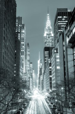 New York City at night - 42nd Street with traffic,  black and wh
