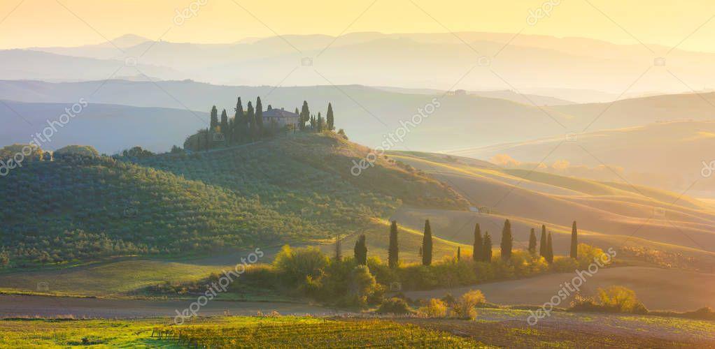 Panoramic Sunrise Morning Tuscany landscape with beautiful hills