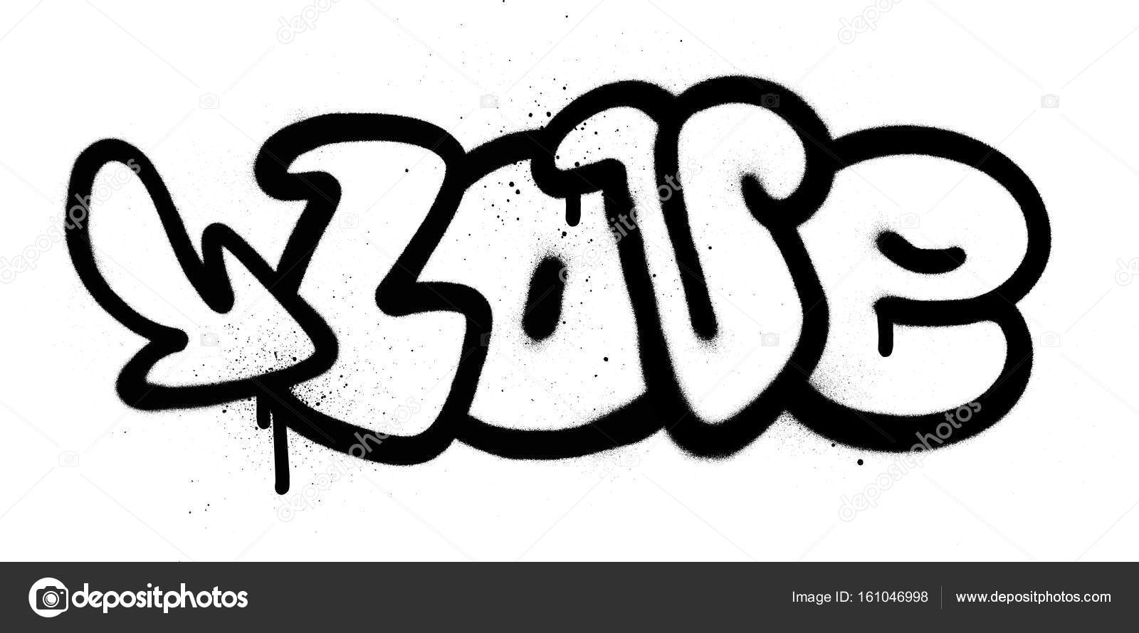 Graffiti Love Word In Black Over White Stock Vector