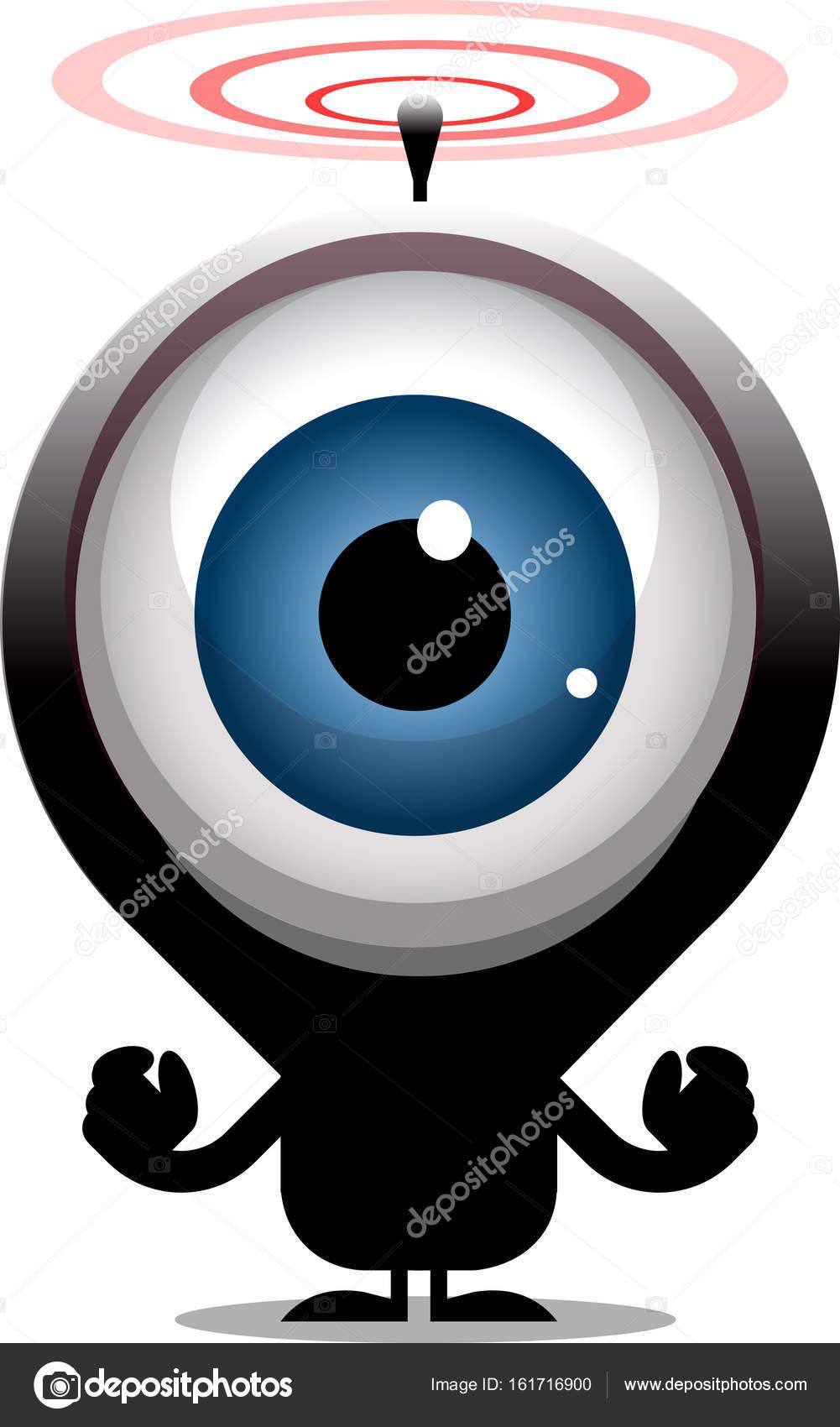 personagem de desenho animado de olho grande transmissão de ondas de