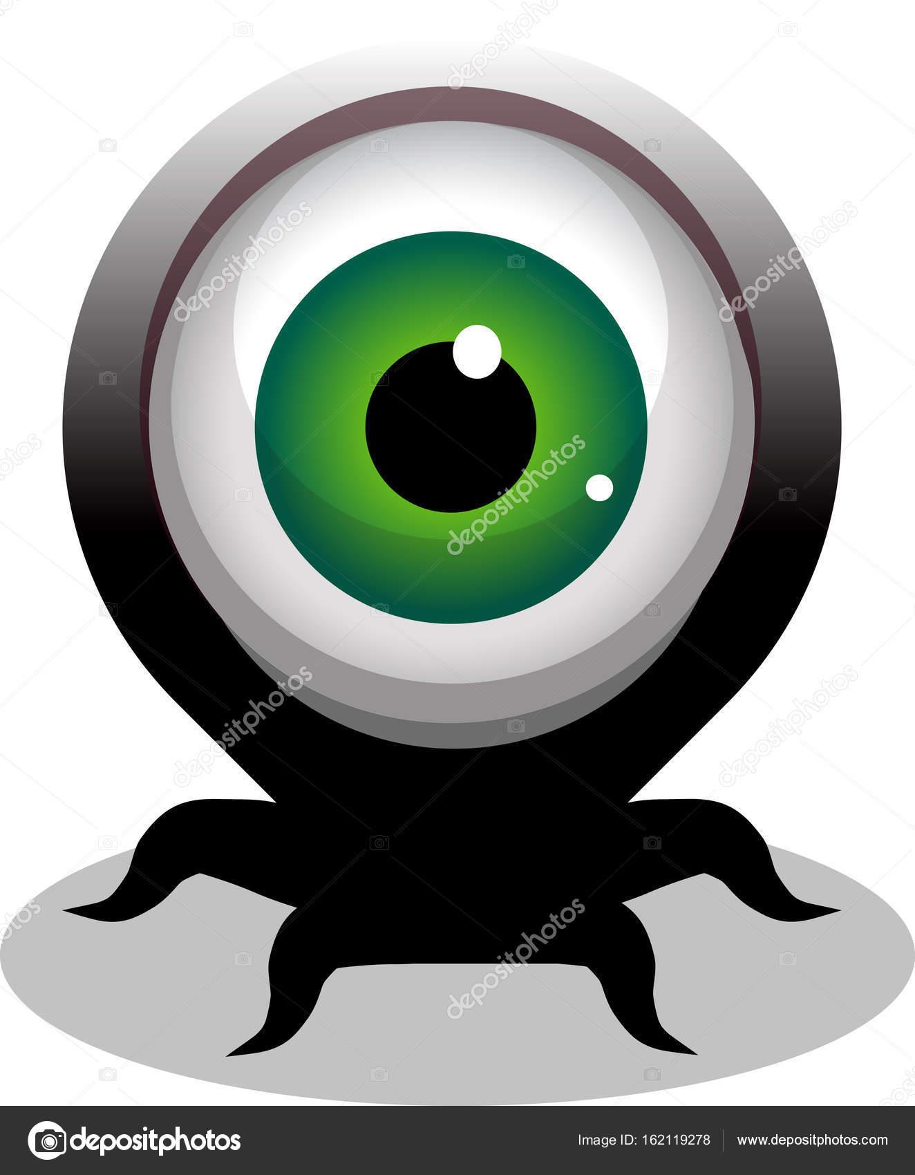 olho grande cheio de personagem de desenho animado assustador com
