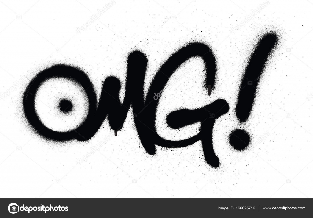 Graffiti Omg Chat Abbreviation In Black Over White Stock Vector