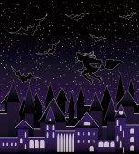 Nacht Stadt und fliegen schöne sexy Hexensilhouette, nahtlose Muster, Vektor-Illustration