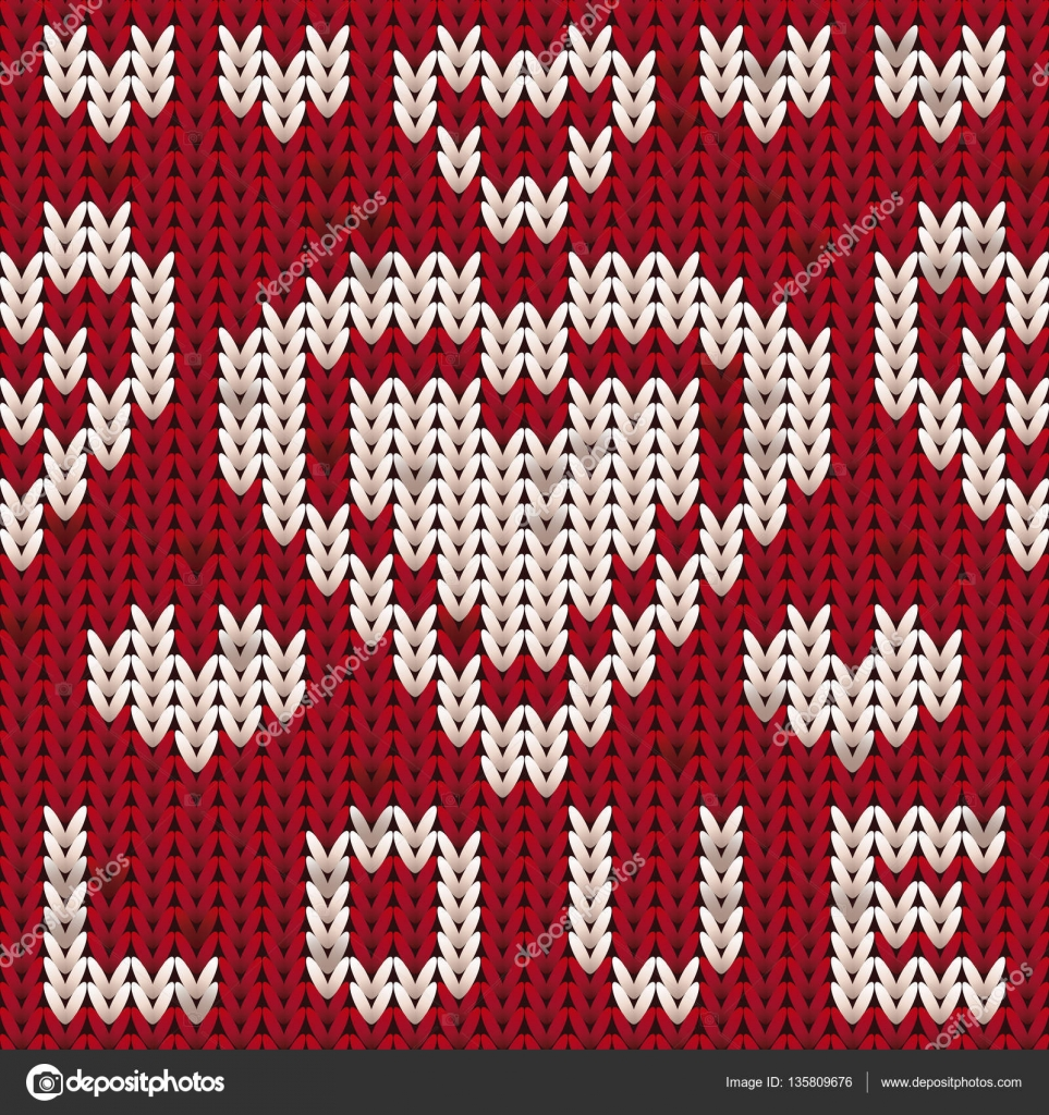 St Valentines Day Knitted Heart Pattern Knit Texture Background