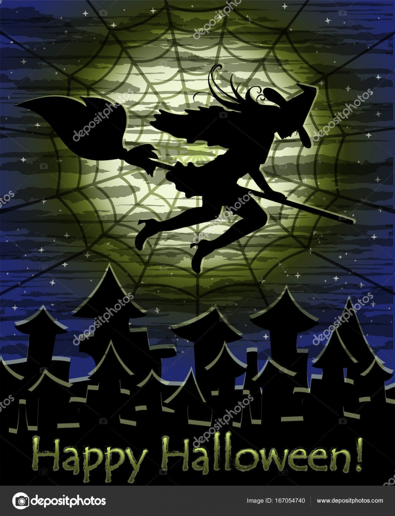 Wonderful Happy Halloween Card With Young Witch, Vector Illustration U2014 Stock Vector