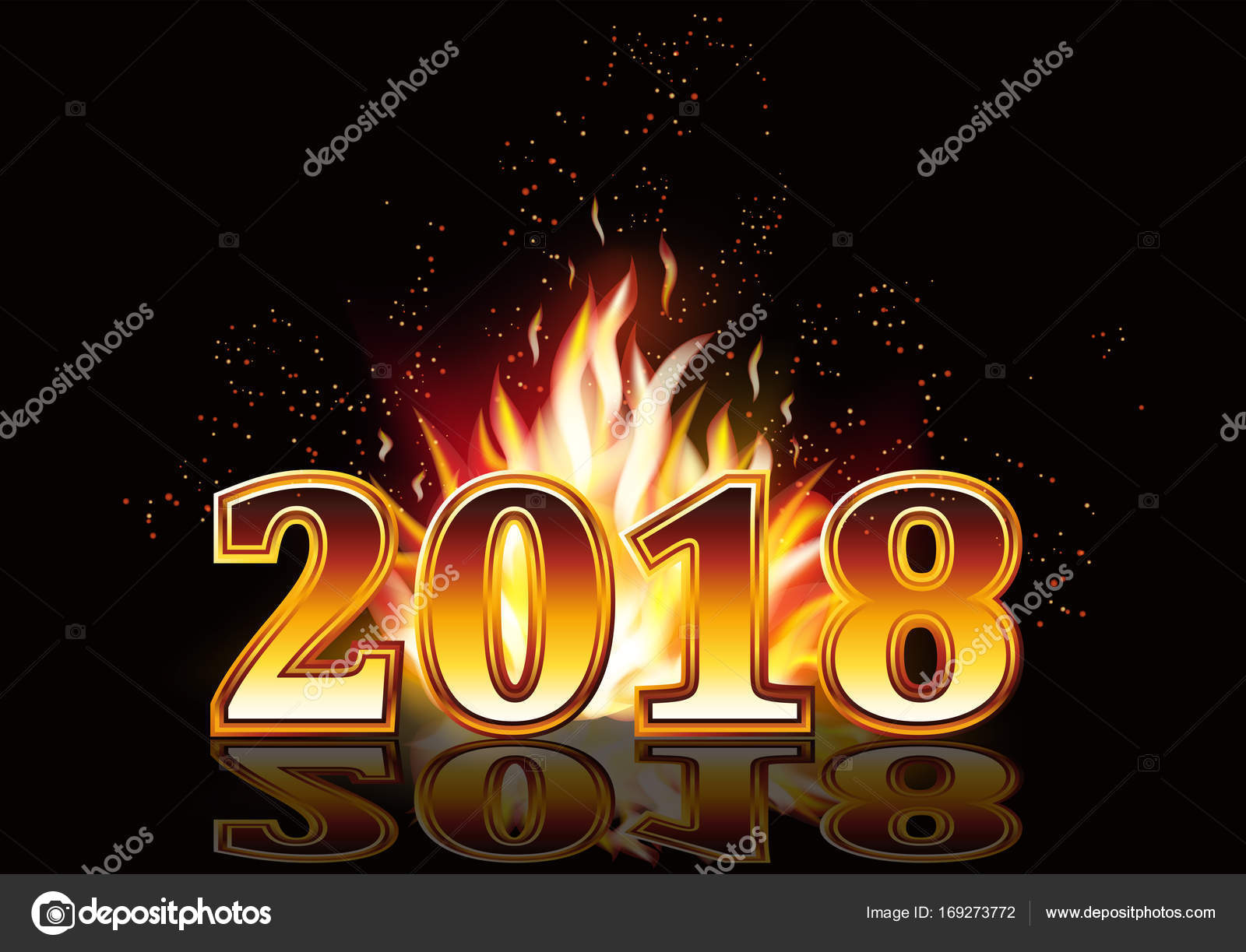 new year 2018 fire invitation card vector illustration stock vector