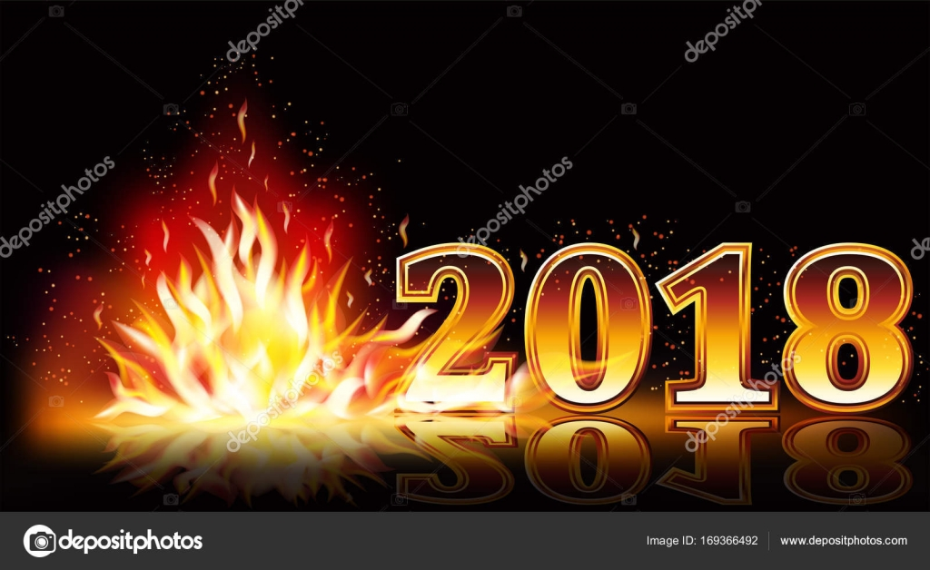 new year 2018 fire banner vector illustration stock vector