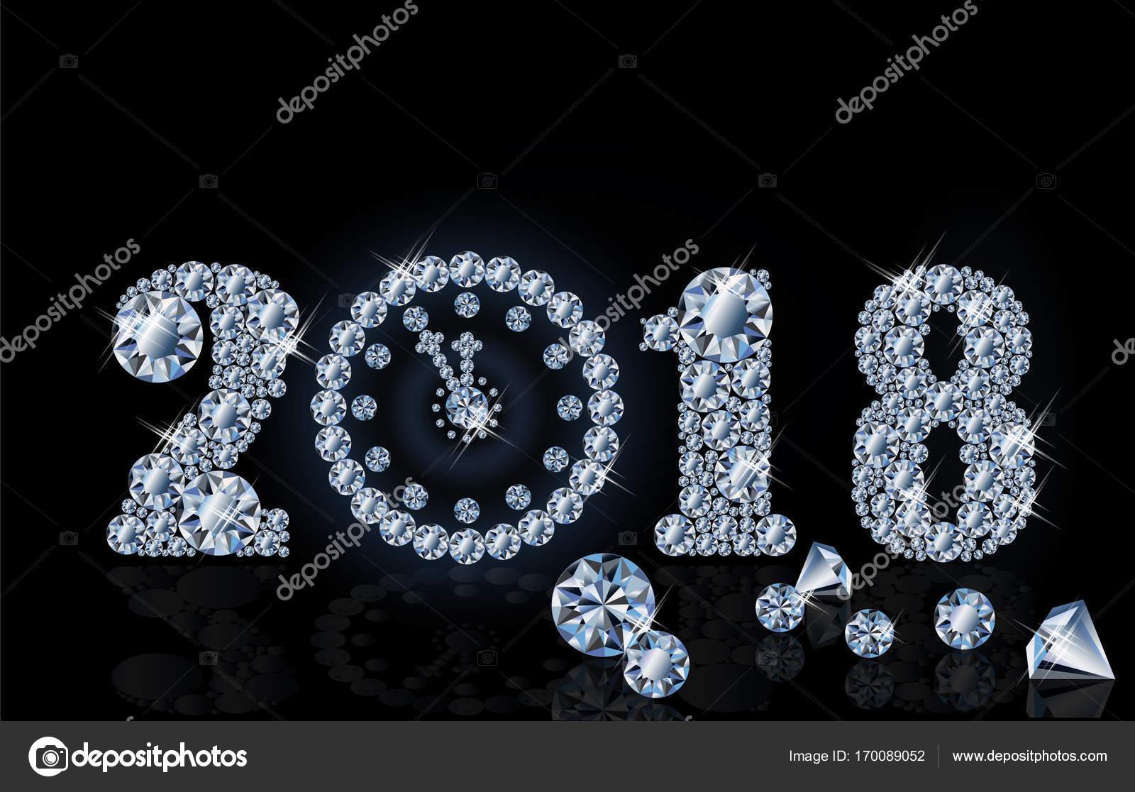 Año nuevo 2018 con el reloj de diamante, papel pintado, vector de ...