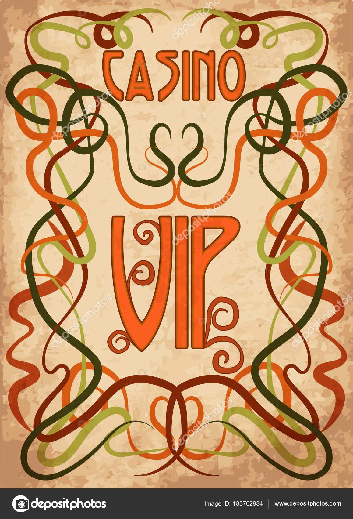 Tarjeta Invitación Vip Casino Estilo Art Nouveau Ilustración