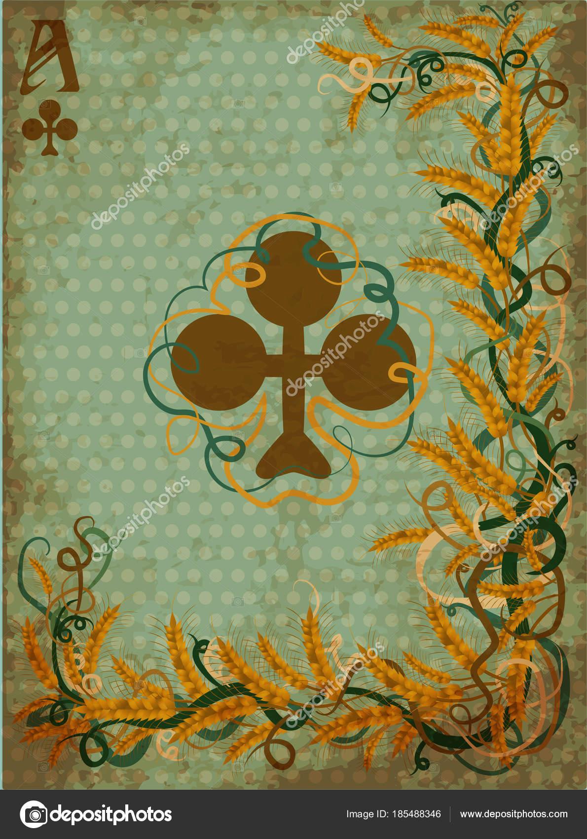 アール ヌーボー様式 ベクトル イラストのカードの火かき棒クラブ カジノ