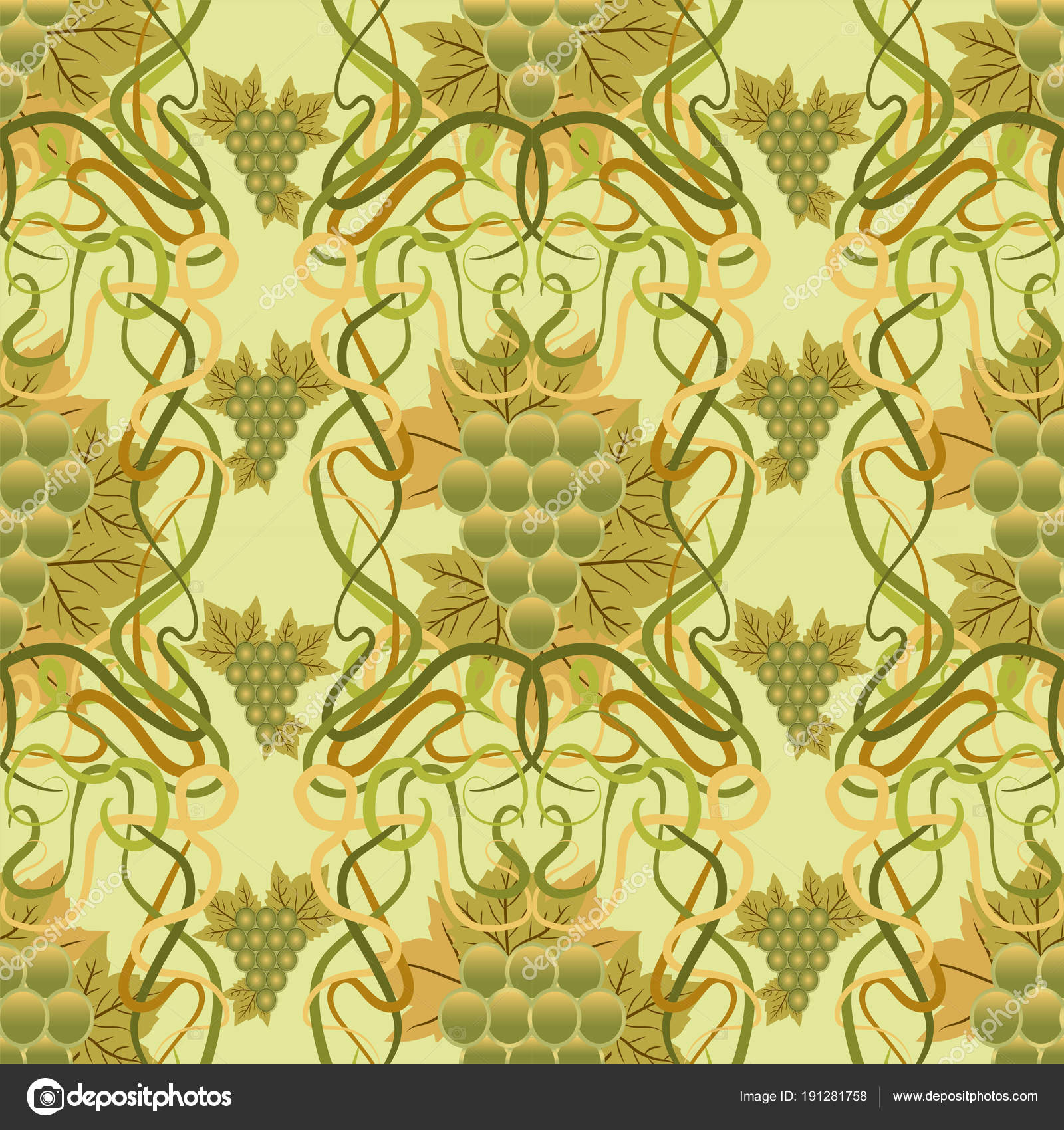 Seamless Wallpaper Grape Art Nouveau Style Vector Illustration ...