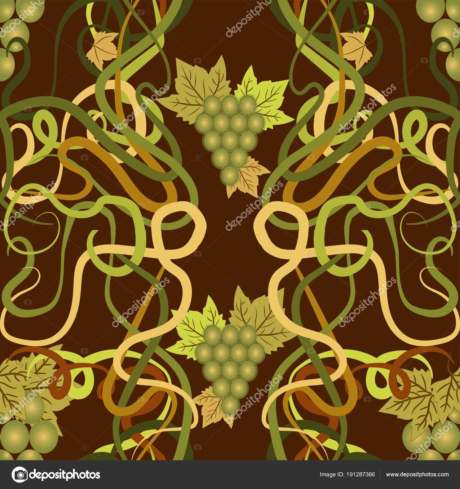 Seamless Wallpaper Grape Art Nouveau Style Vector Illustration ...