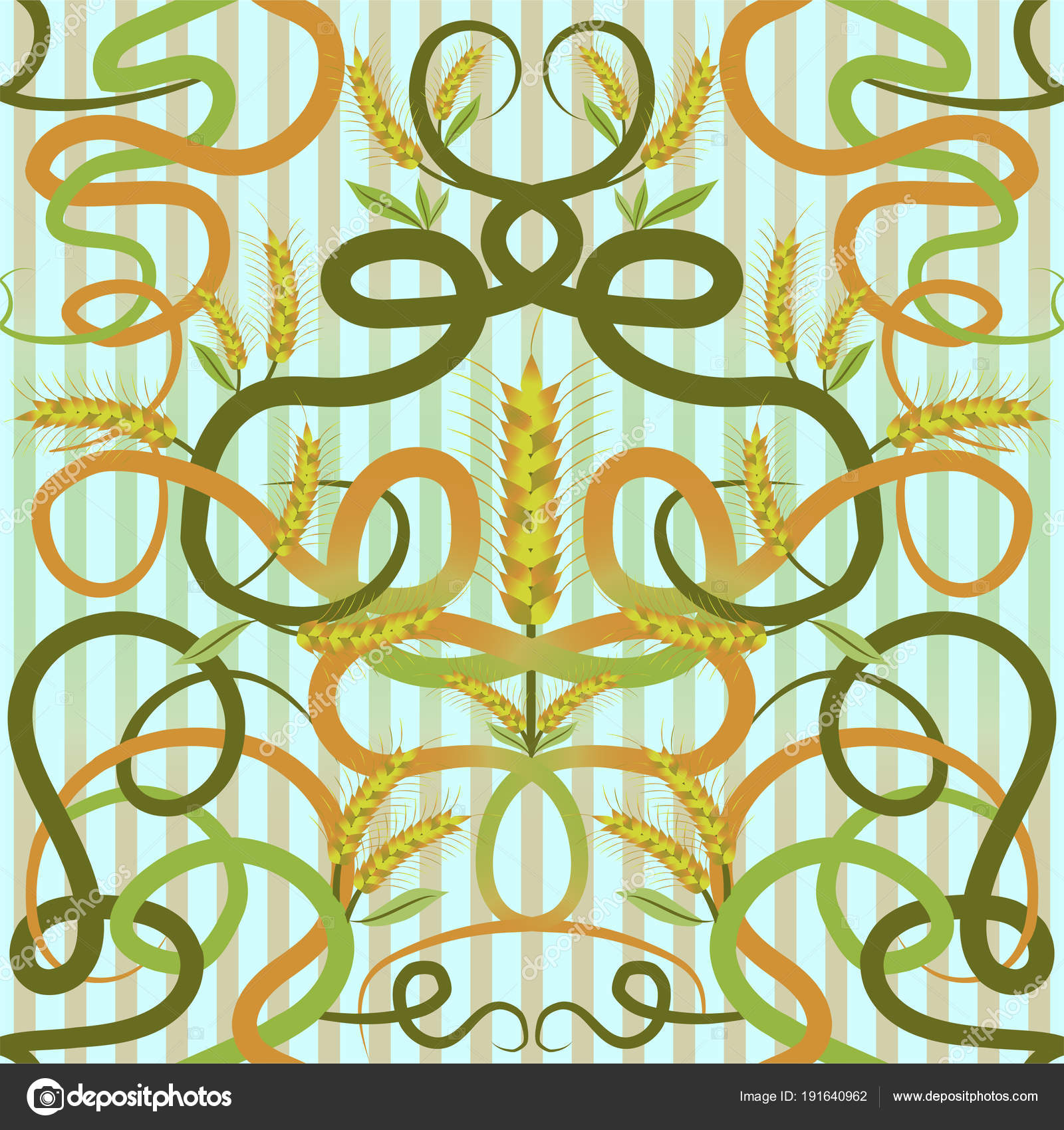 Seamless Wallpaper Wheat Art Nouveau Style Vector Illustration ...