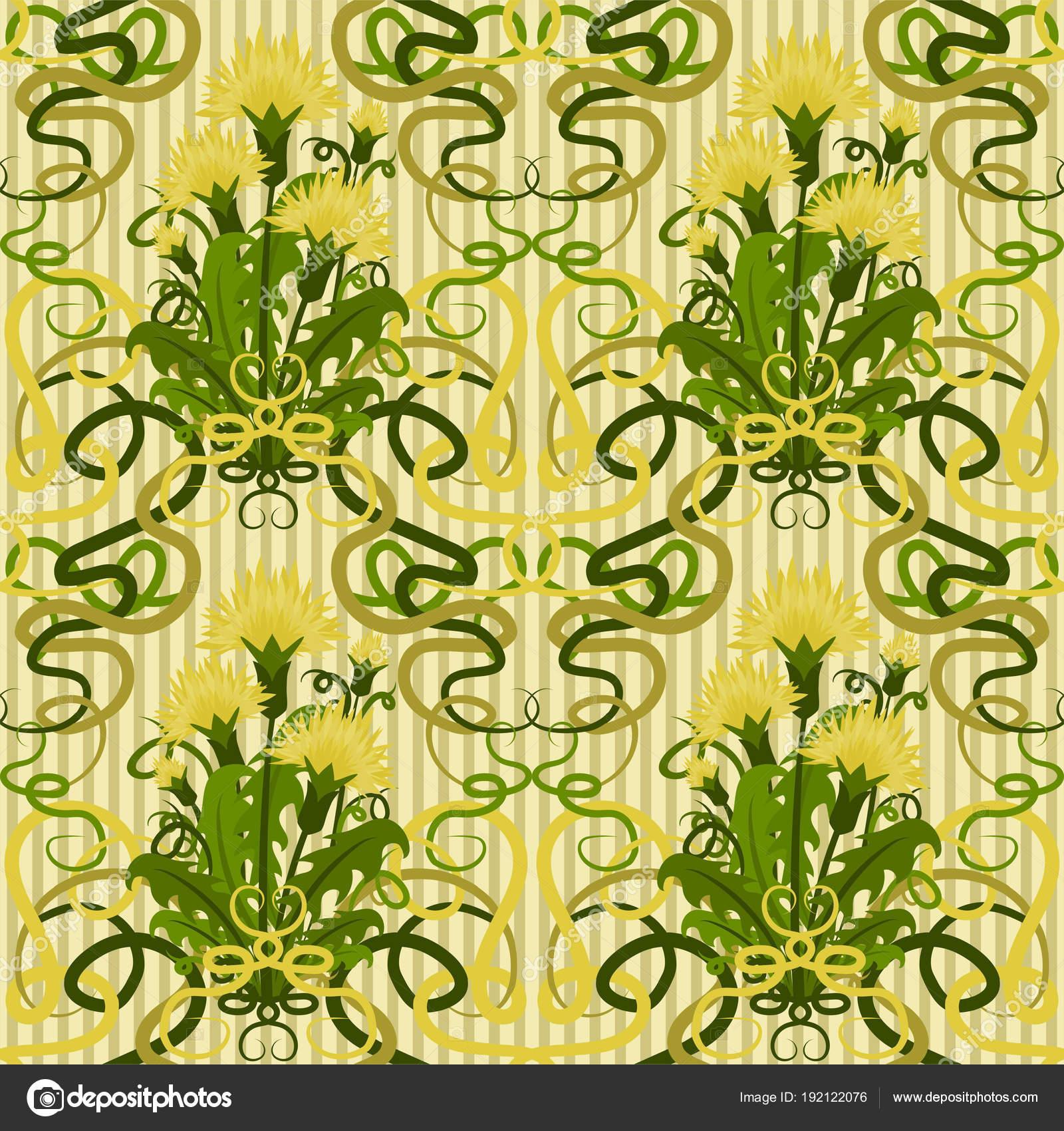 Seamless Wallpaper Dandelions Art Nouveau Style Vector Illustration ...