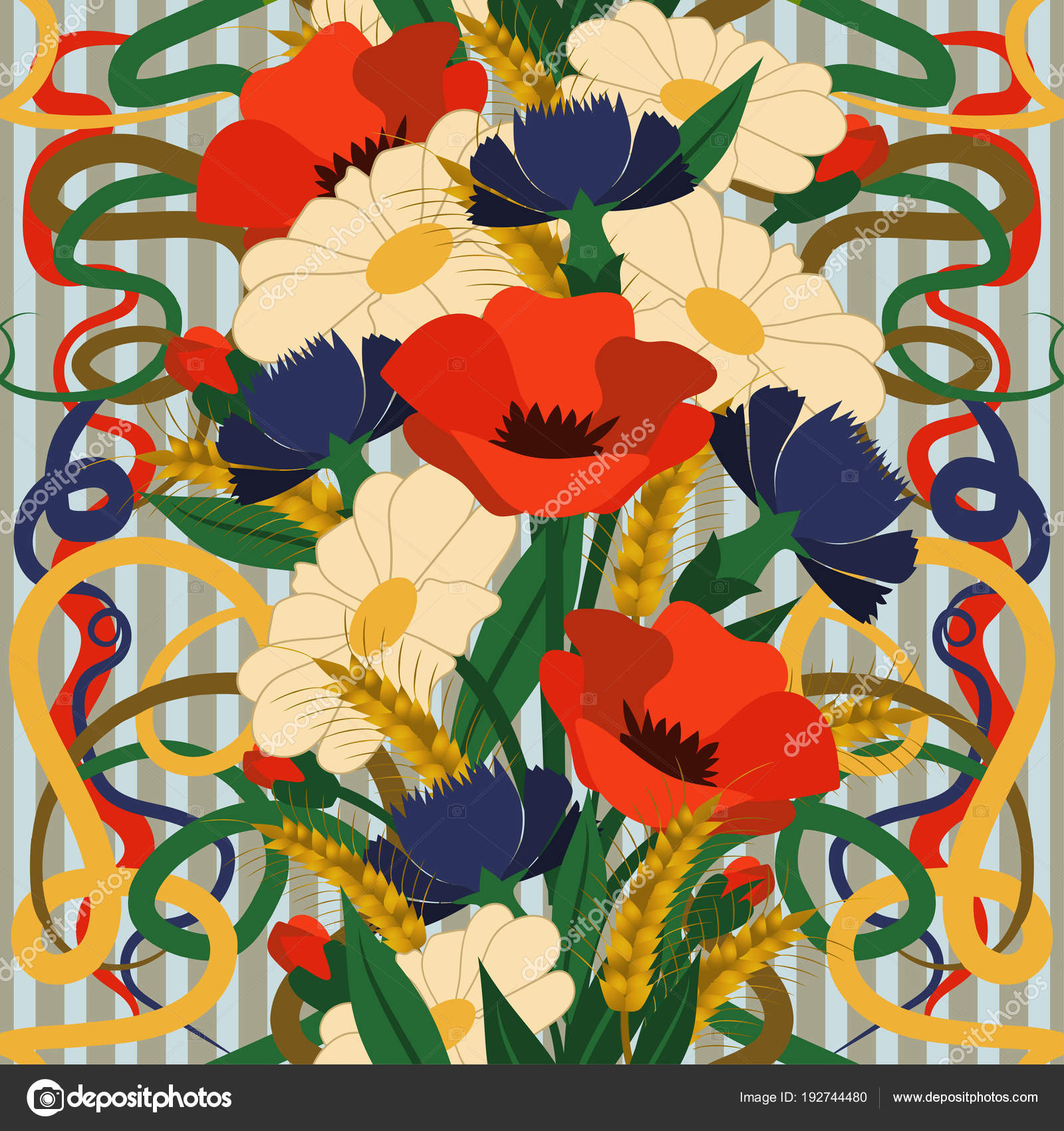 Seamless Floral Wallpaper Art Nouveau Style Vector Illustration ...