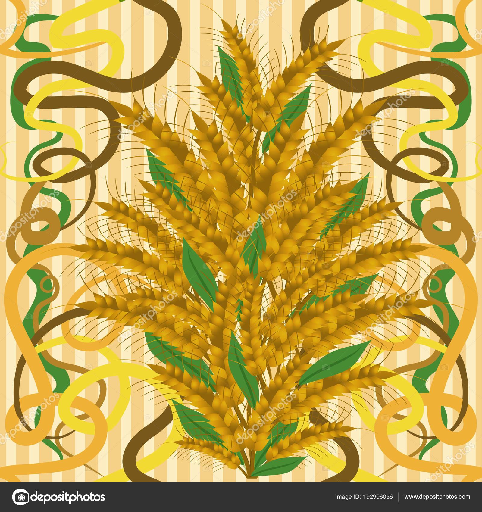 Seamless Wallpaper Wheat Art Nouveau Style Vector Illustration ...
