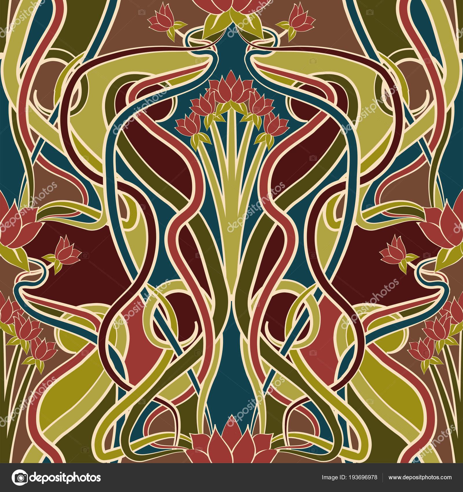 Art Nouveau Wallpaper Seamless Floral Wallpaper Art Nouveau