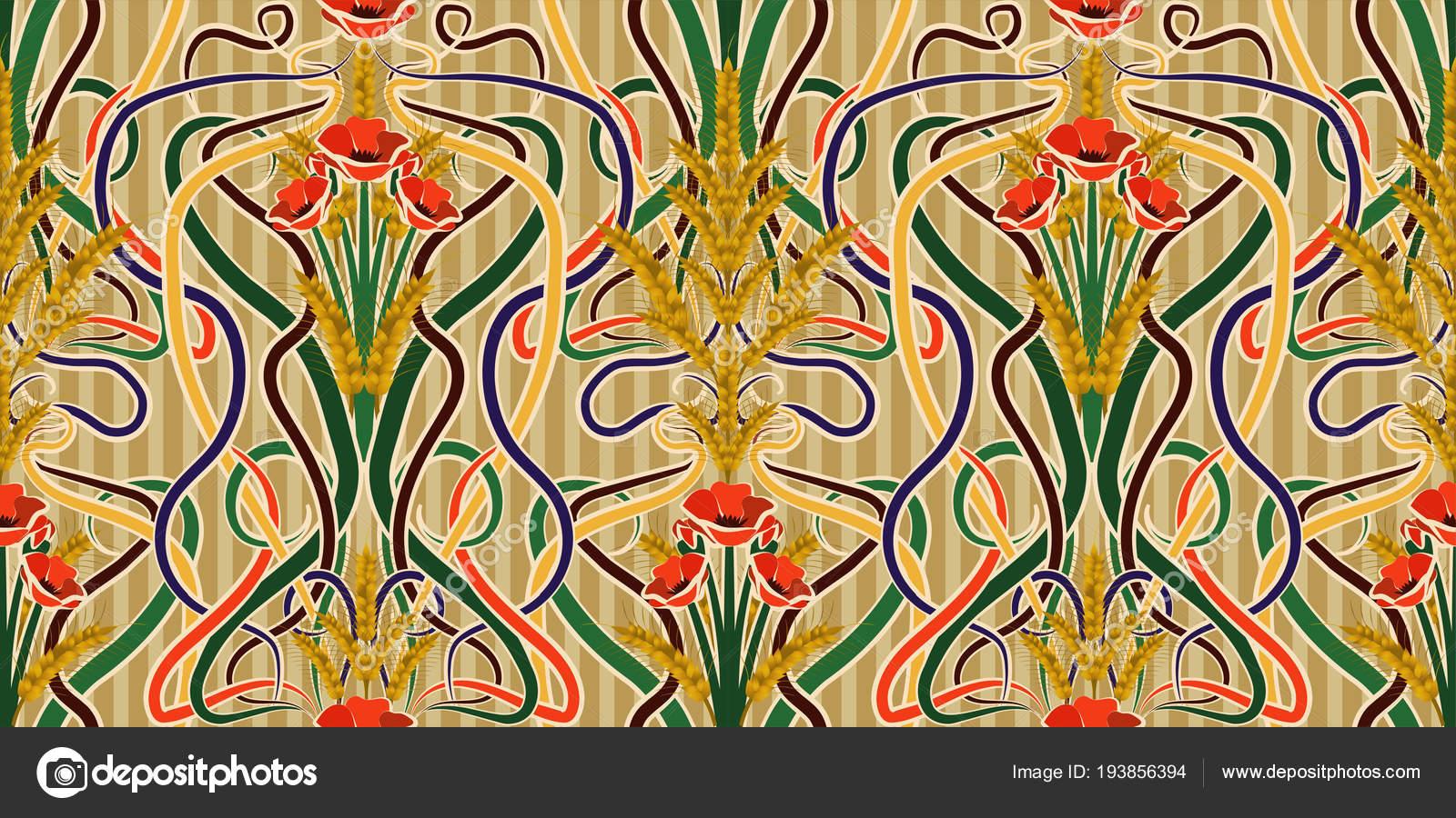 Seamless Wallpaper Wheat Poppies Art Nouveau Style Vector ...
