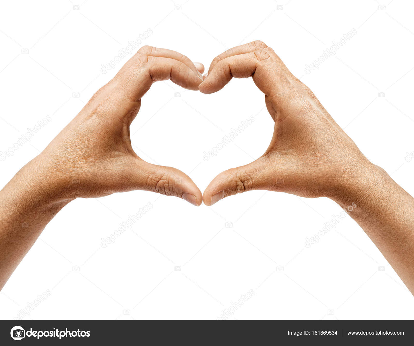 Two Hands Making Heart Sign Isolated On White Background Stock