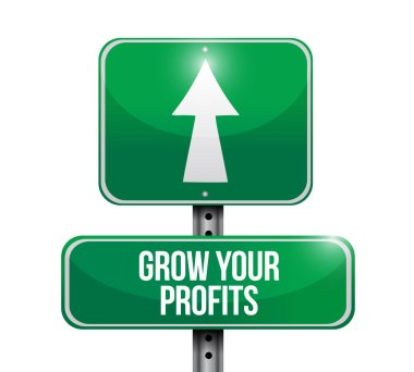 grow your profits road sign concept