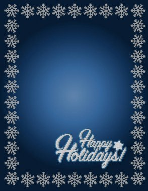 Happy holidays blue snowflake background