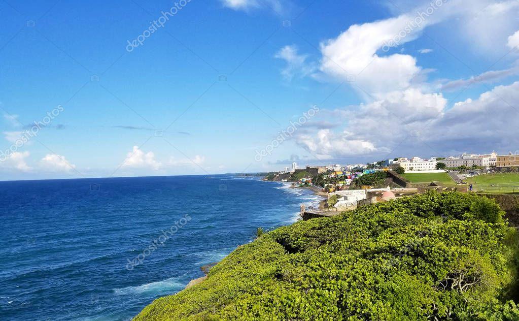Coastline of San Juan, Puerto Rico and the ancient El Morro Cast