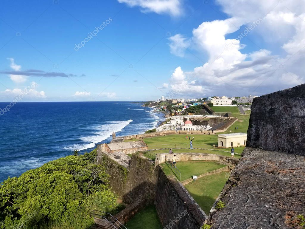 Coastline of San Juan, Puerto Rico and the ancient El Morro Cast