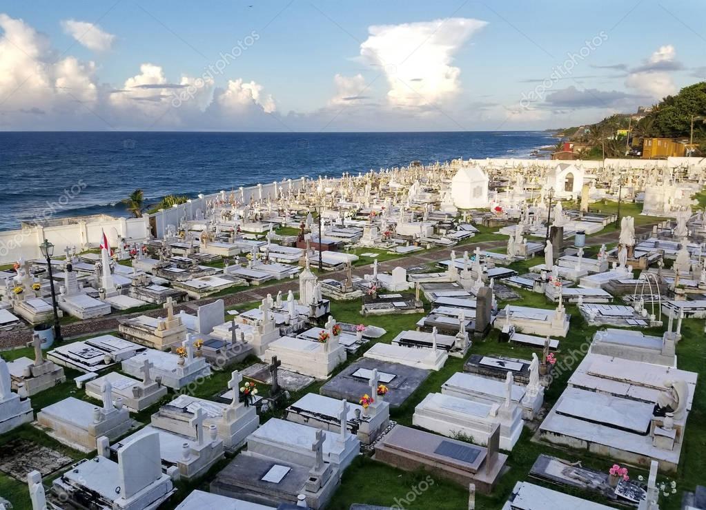 SAN JUAN, PUERTO RICO - SEP, 2017: Overview of the Cementerio de