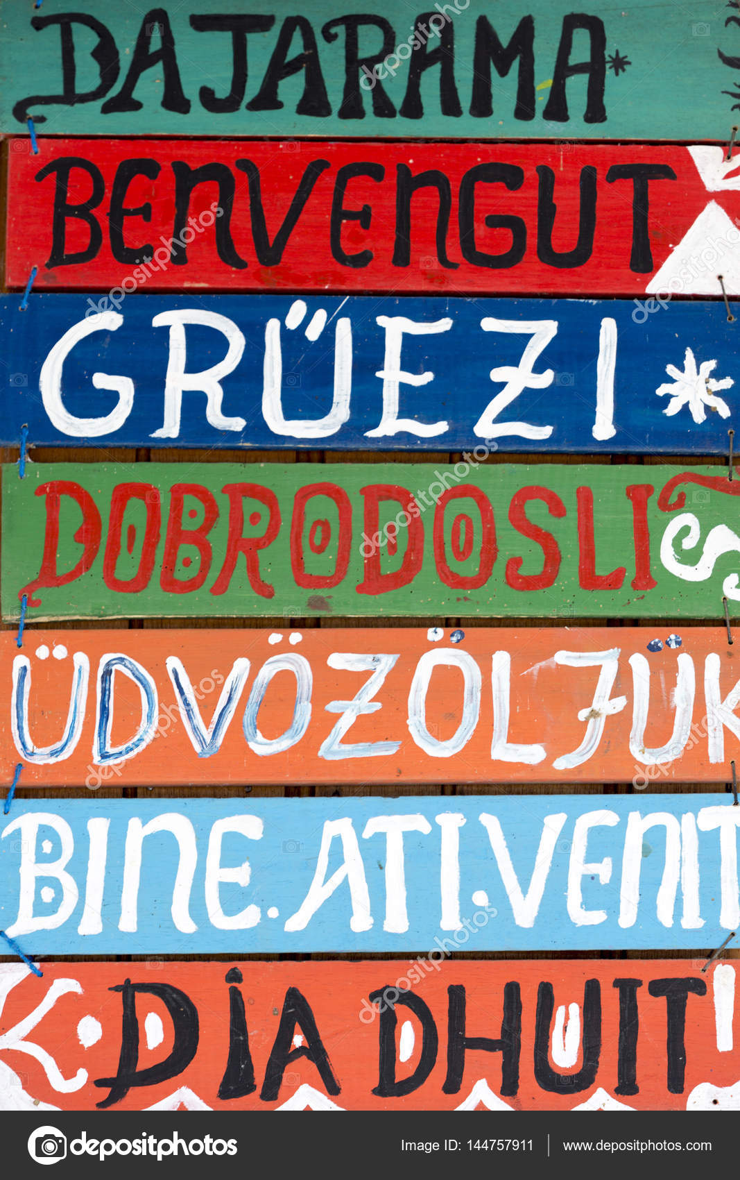 Hello Wooden Signs In Various Languages Stock Photo Piccaya