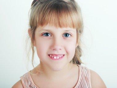 Studio portrait of cute little girl stock vector