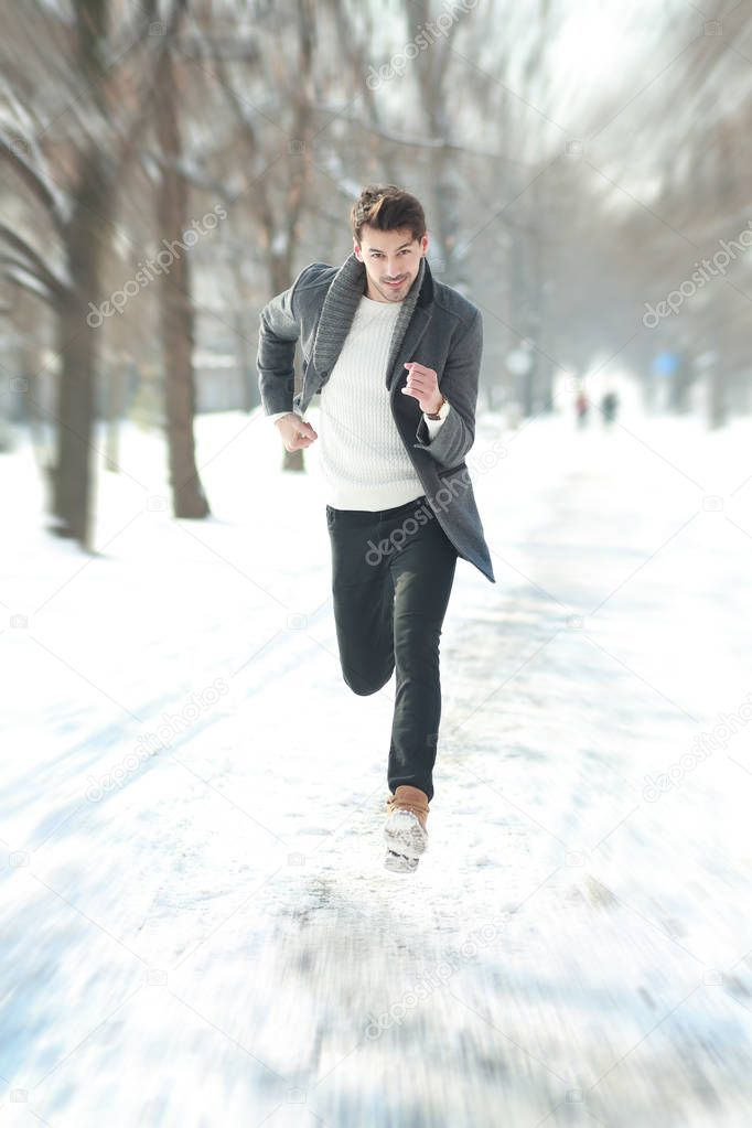 young man in hurry running