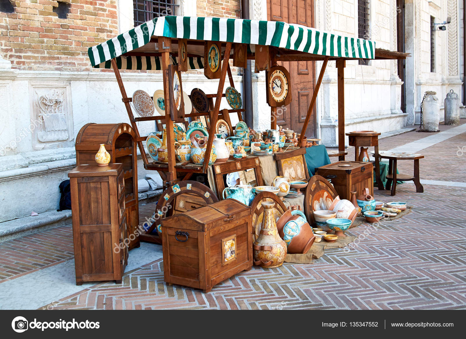 Village Fair Vintage Handicrafts Pottery Leather And Wooden