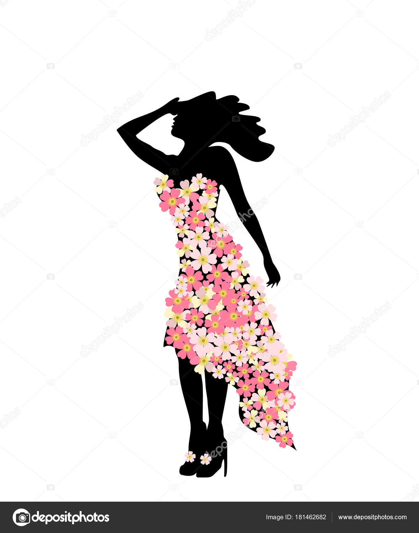 Silhouette girl model floral dress at party. Girl and ...