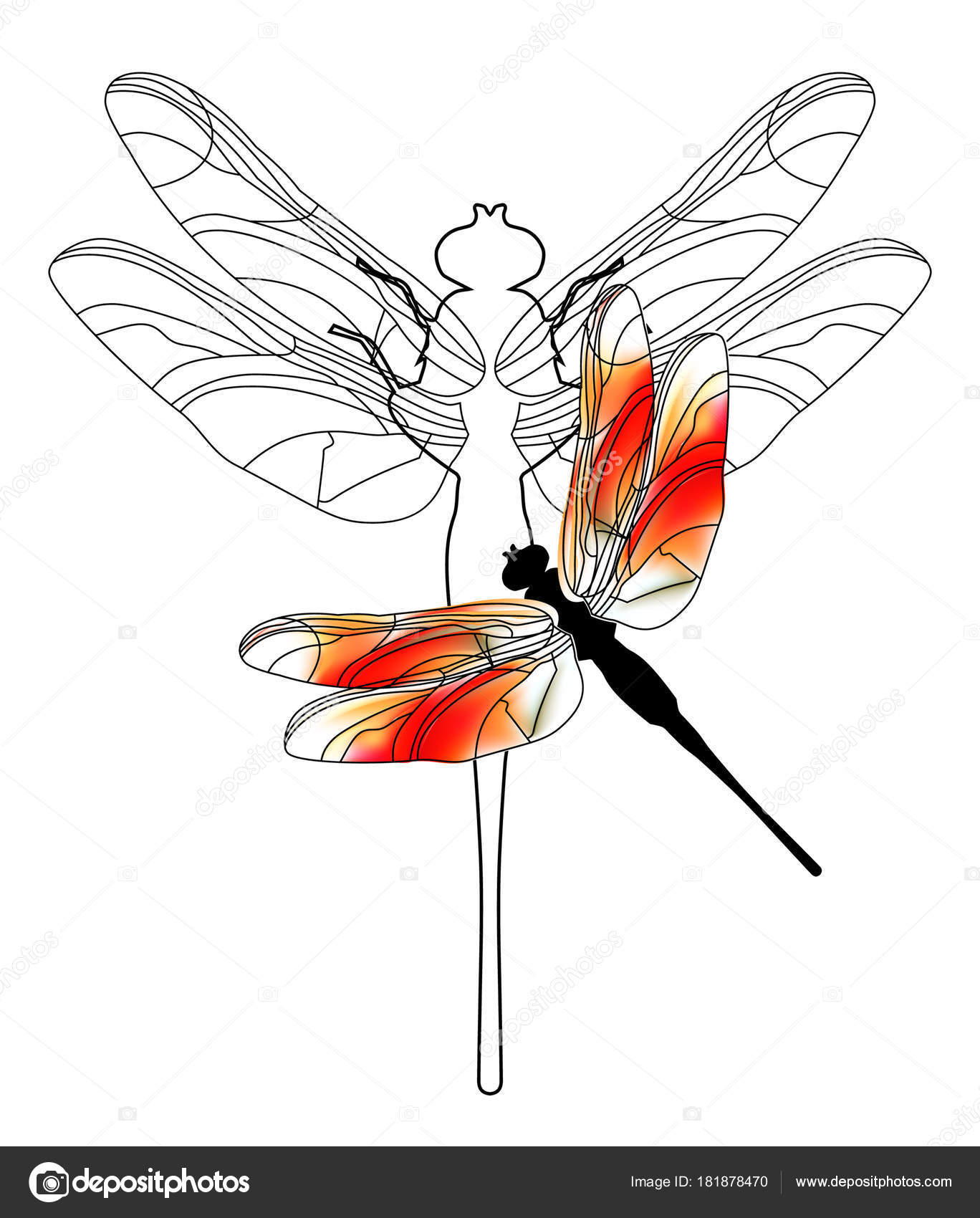 Ilustración de dibujos animados divertidos de libélula. Alborotos de ...