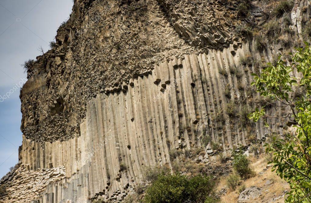 Rock formation basalt columns Symphony of the Stones near Garni
