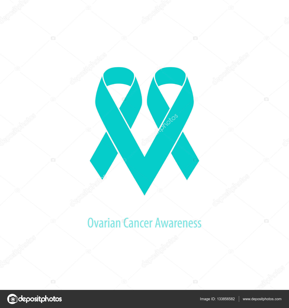 Ovarian Cancer Heart Symbol Teal Ribbon Flat Shape Design Isolated