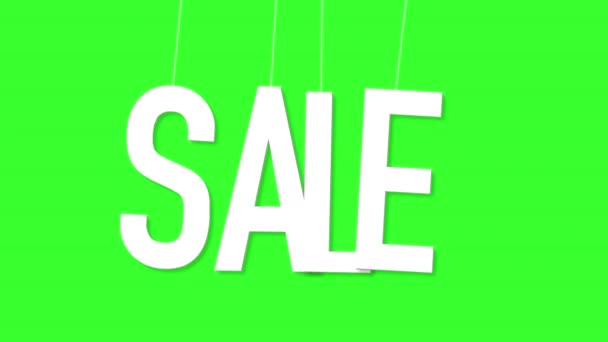 Computergenerierte Animation baumelt und wackelt auf dünnen elastischen Bändern Wortverkauf über grünen Bildschirm, weiße kondensierte Schrift einfache Buchstaben realistische Animation