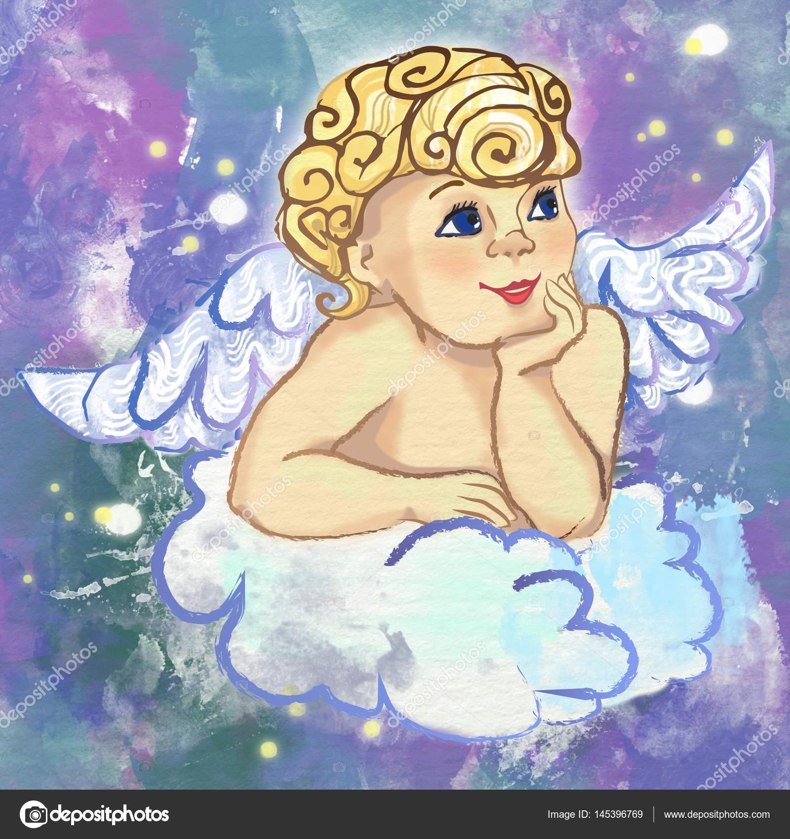 Imágenes Angelitos Que Estan En El Cielo Angelito Rizado Con Alas