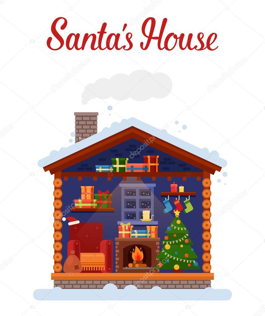 Capodanno A Casa Di Babbo Natale.Casa Di Babbo Natale O La Casa Natale E Capodanno 2017 Vettoriali