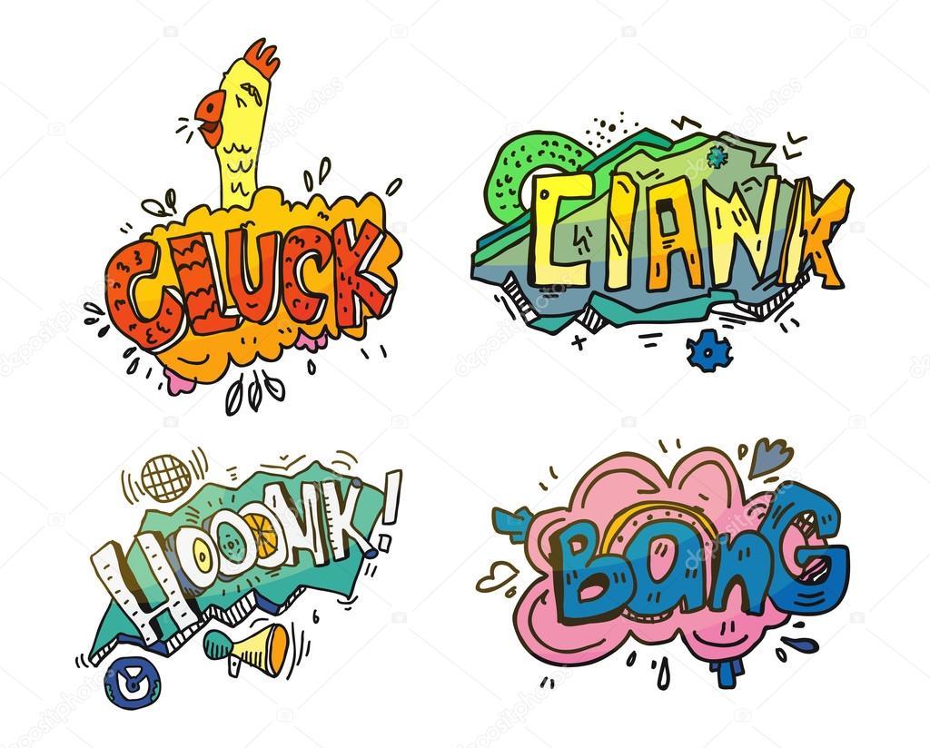 Luftblasen von Sounds für Comix oder Cartoon, Comic-Buch oder einer ...