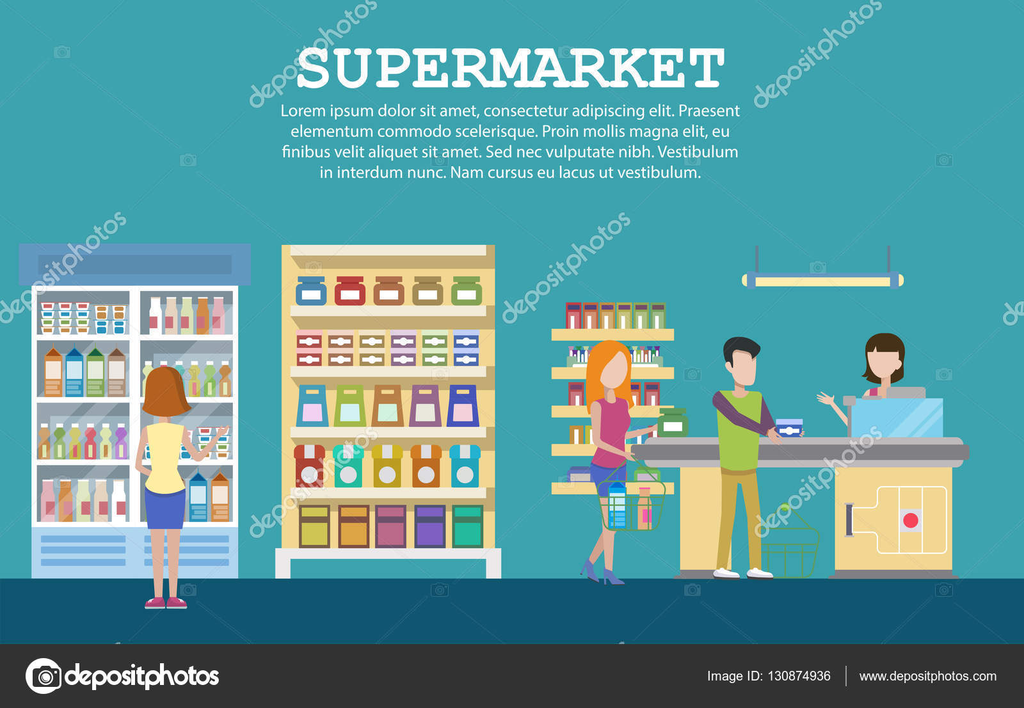 Supermarkt-Interieur mit Kolonialwaren, Milchverpackungen ...
